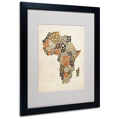 Michael Tompsett 'Africa Text Map' Matted Framed Art - 11x14 Inches - Wood Frame