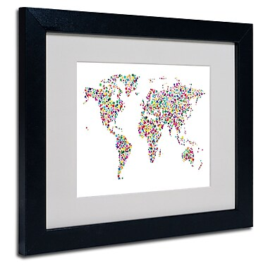 Trademark Fine Art Michael Tompsett 'Stars World Map' Matted Art Black Frame 16x20 Inches