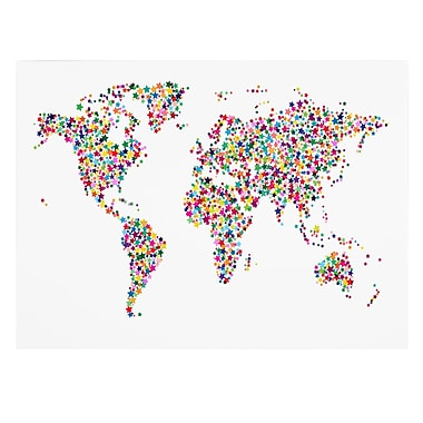 Trademark Fine Art Michael Tompsett 'Stars World Map' Canvas Art 14x19 Inches