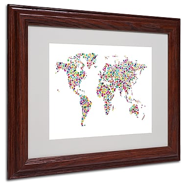 Michael Tompsett 'Stars World Map' Matted Framed Art - 16x20 Inches - Wood Frame