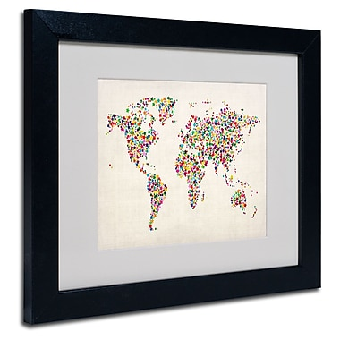 Trademark Fine Art Michael Tompsett 'Stars World Map 2' Matted Art Black Frame 16x20 Inches