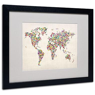 Michael Tompsett 'Stars World Map 2' Matted Framed Art - 11x14 Inches - Wood Frame