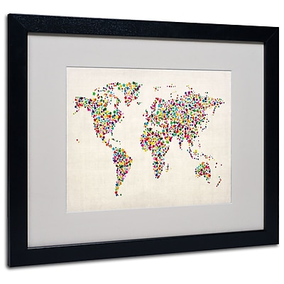 Michael Tompsett 'Stars World Map 2' Matted Framed Art - 11x14 Inches - Wood Frame
