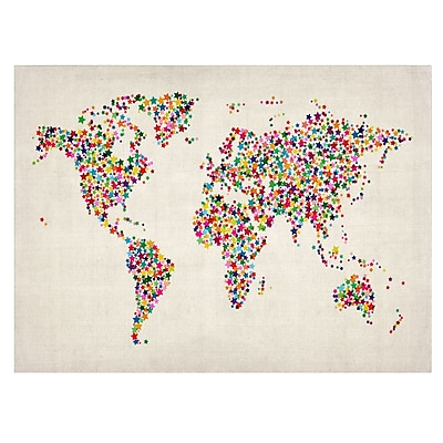 Trademark Fine Art Michael Tompsett 'Stars World Map 2' Matted Art Black Frame 11x14 Inches