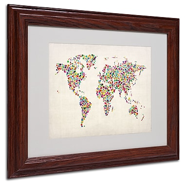 Michael Tompsett 'Stars World Map 2' Matted Framed Art - 16x20 Inches - Wood Frame