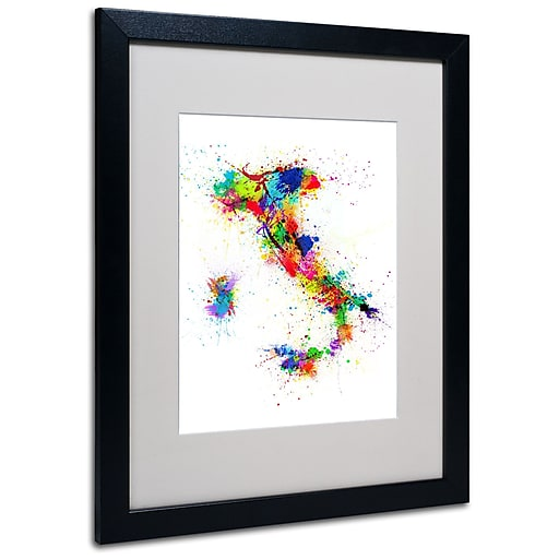 Michael Tompsett 'Italy Paint Splashes Map' Matted Framed - 11x14 Inches - Wood Frame