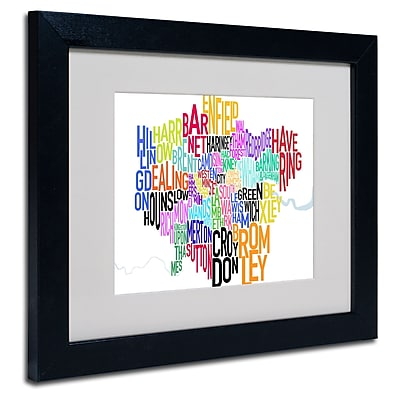 Trademark Fine Art Michael Tompsett 'London Text Map' Matted Art Black Frame 16x20 Inches