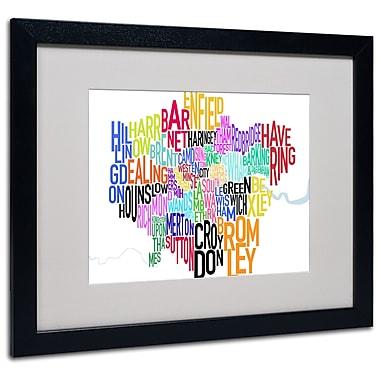 Michael Tompsett 'London Text Map' Matted Framed Art - 11x14 Inches - Wood Frame