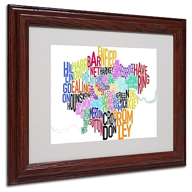 Michael Tompsett 'London Text Map' Matted Framed Art - 16x20 Inches - Wood Frame