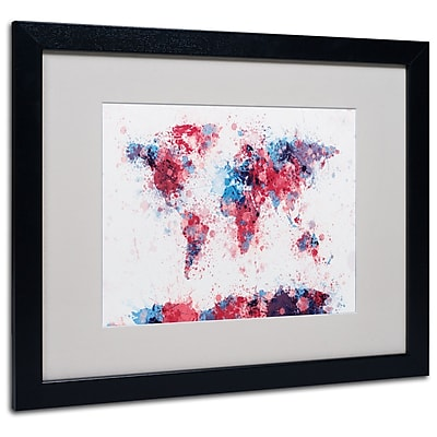 Trademark Fine Art Michael Tompsett 'Paint Splashes World Map' Matted Black Frame 16x20 Inches