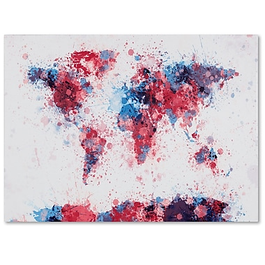 Trademark Fine Art Michael Tompsett 'Paint Splashes World Map' Canvas Art 16x24 Inches