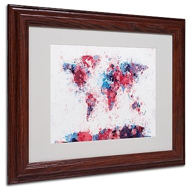 Trademark Fine Art Michael Tompsett 'Paint Splashes World Map' Matted White Frame 11x14 Inches