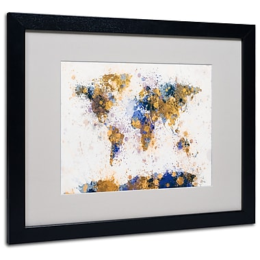 Michael Tompsett 'Paint Splashes World Map 2' Matted Framed - 11x14 Inches - Wood Frame