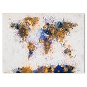Michael Tompsett 'Paint Splashes World Map 2' Matted Framed - 16x20 Inches - Wood Frame