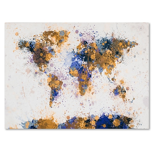 Trademark Fine Art Michael Tompsett 'Paint Splashes World Map 2' Matted Black Frame 11x14 Inches