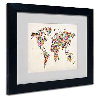 Trademark Fine Art Michael Tompsett 'Flowers World Map' Matted Art Black Frame 16x20 Inches