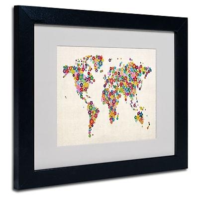 Trademark Fine Art Michael Tompsett 'Flowers World Map' Matted Art Black Frame 16x20 Inches