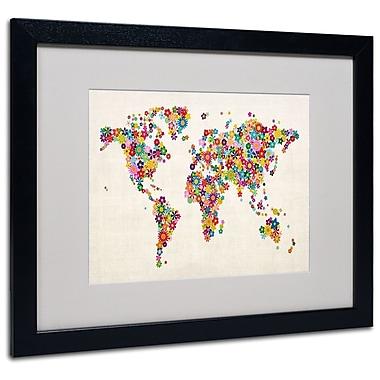 Michael Tompsett 'Flowers World Map' Matted Framed Art - 11x14 Inches - Wood Frame