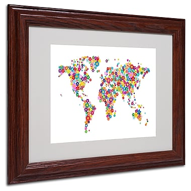 Michael Tompsett 'Flowers World Map 2' Matted Framed Art - 16x20 Inches - Wood Frame