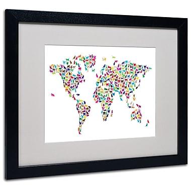 Michael Tompsett 'Cats World Map' Matted Framed Art - 11x14 Inches - Wood Frame