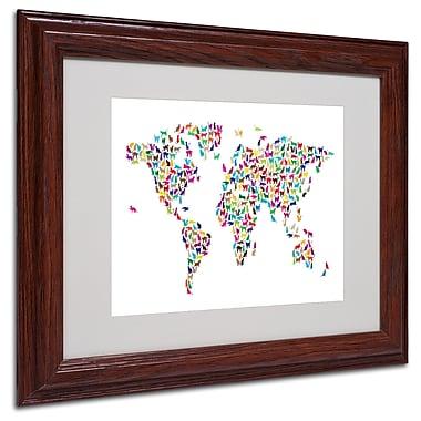 Michael Tompsett 'Cats World Map' Matted Framed Art - 16x20 Inches - Wood Frame