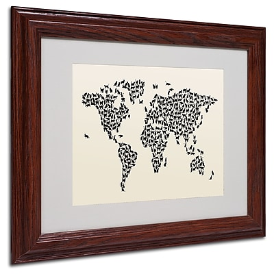 Michael Tompsett 'Cats World Map 2' Matted Framed Art - 16x20 Inches - Wood Frame