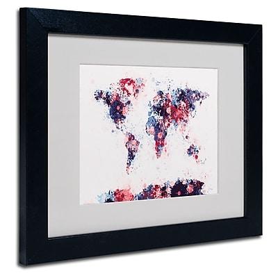 Trademark Fine Art Michael Tompsett 'Paint Splashes World Map 3' Matted Black Frame 16x20 Inches