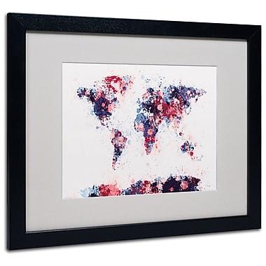 Michael Tompsett 'Paint Splashes World Map 3' Matted Framed - 11x14 Inches - Wood Frame