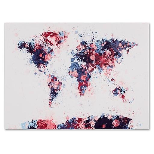 Trademark Fine Art Michael Tompsett 'Paint Splashes World Map 3' Canvas Art 14x19 Inches