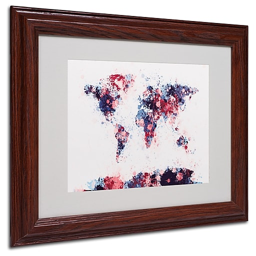 Michael Tompsett 'Paint Splashes World Map 3' Matted Framed - 16x20 Inches - Wood Frame