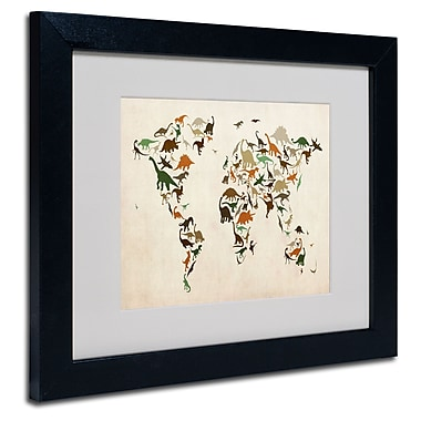 Trademark Fine Art Michael Tompsett 'Dinosaur World Map 2' Matted Art Black Frame 16x20 Inches