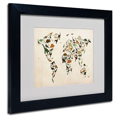 Trademark Fine Art Michael Tompsett 'Dinosaur World Map 2' Matted Art Black Frame 16x20 Inches