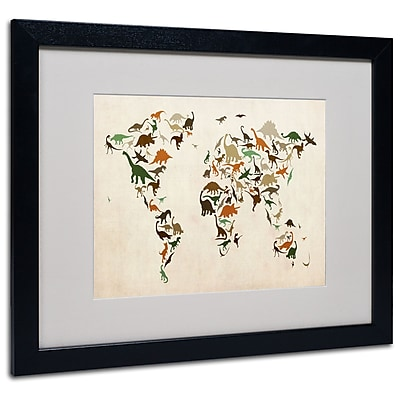Michael Tompsett 'Dinosaur World Map 2' Matted Framed Art - 11x14 Inches - Wood Frame