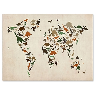 Trademark Fine Art Michael Tompsett 'Dinosaur World Map 2' Matted Art Black Frame 11x14 Inches