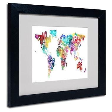 Trademark Fine Art Michael Tompsett 'World Text Map' Matted Art Black Frame 11x14 Inches