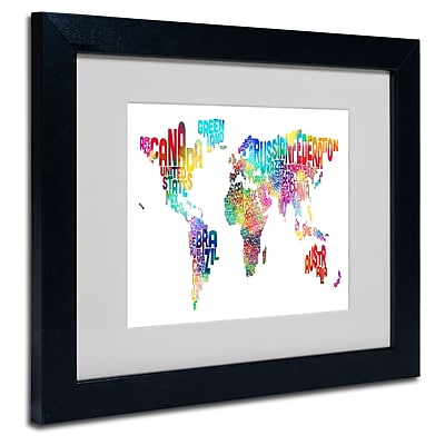 Trademark Fine Art Michael Tompsett 'World Text Map' Matted Art Black Frame 11x14 Inches