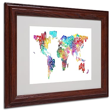 Michael Tompsett 'World Text Map' Matted Framed Art - 11x14 Inches - Wood Frame