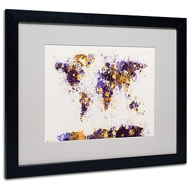 Michael Tompsett 'Paint Splashes World Map 4' Matted Framed - 11x14 Inches - Wood Frame