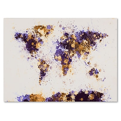 Trademark Fine Art Michael Tompsett 'Paint Splashes World Map 4' Matted Black Frame 11x14 Inches