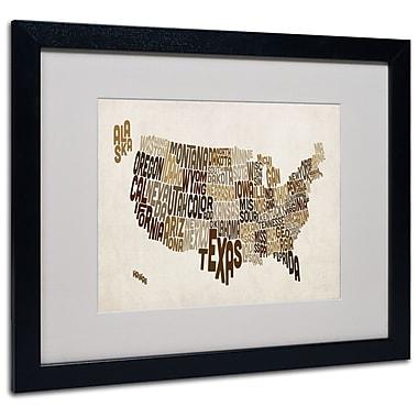 Trademark Fine Art Michael Tompsett 'USA States Text Map 2' Matted Art Black Frame 16x20 Inches