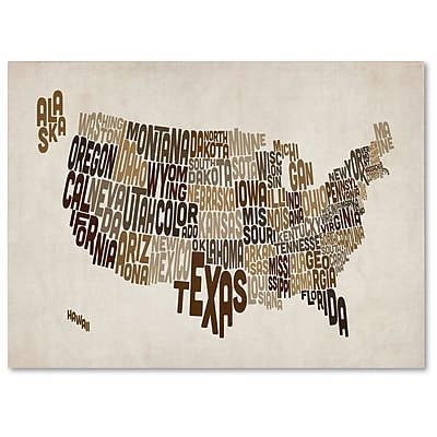 Trademark Fine Art Michael Tompsett 'USA States Text Map 2' Canvas Art 14x19 Inches