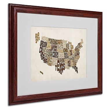 Michael Tompsett 'USA States Text Map 2' Matted Framed Art - 16x20 Inches - Wood Frame