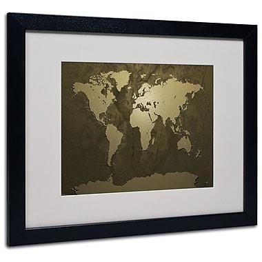 Michael Tompsett 'Gold World Map' Matted Framed Art - 11x14 Inches - Wood Frame