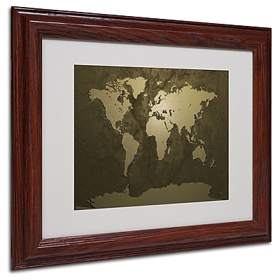 Michael Tompsett 'Gold World Map' Matted Framed Art - 16x20 Inches - Wood Frame