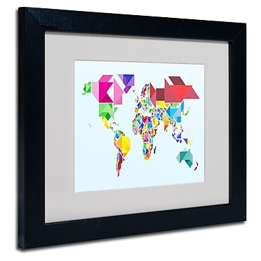 Trademark Fine Art Michael Tompsett 'Tangram Worldmap' Matted Art Black Frame 16x20 Inches