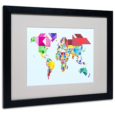 Michael Tompsett 'Tangram Worldmap' Matted Framed Art - 11x14 Inches - Wood Frame