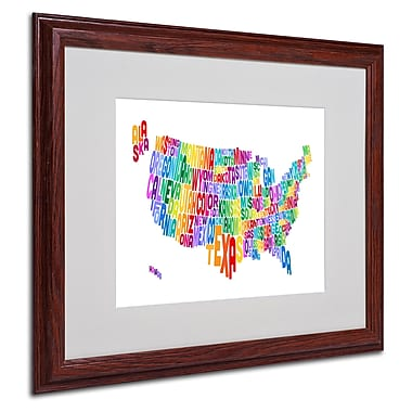 Michael Tompsett 'USA States Text Map 3' Matted Framed Art - 16x20 Inches - Wood Frame
