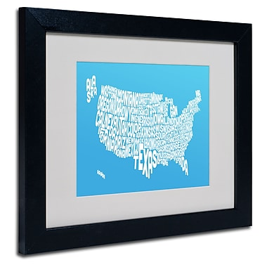 Trademark Fine Art Michael Tompsett 'AZUL-USA States Text Map' Matted Black Frame 16x20 Inches