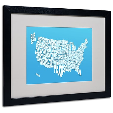 Michael Tompsett 'AZUL-USA States Text Map' Matted Framed - 11x14 Inches - Wood Frame