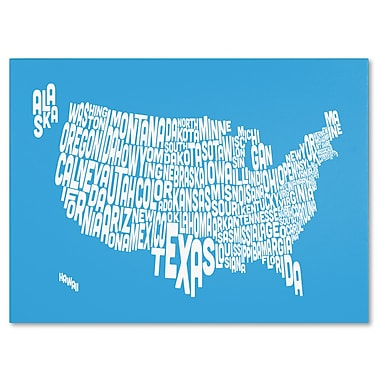 Trademark Fine Art Michael Tompsett 'AZUL-USA States Text Map' Canvas Art 14x19 Inches